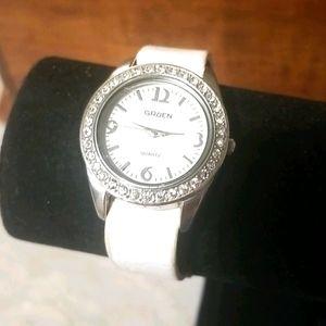 GRUEN Ladies Watch Silver White Diamond Bezel
